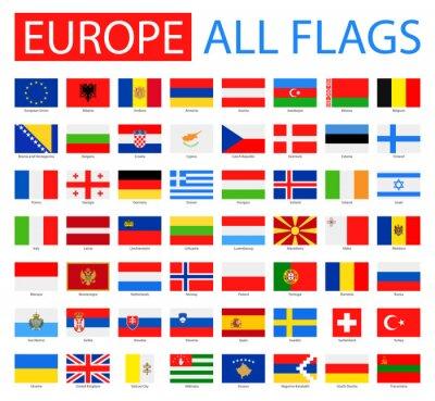 Плакат Флаги Европы - Полный вектор коллекции. Вектор Набор плоских европейских флагов.