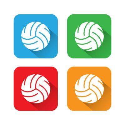 Плакат Плоский и Длинная тень Волейбол Иконка