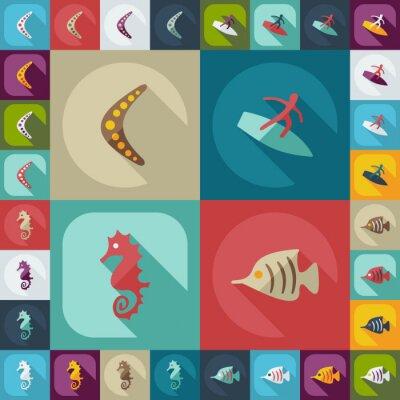 Плакат Плоский концепция, установить современный дизайн с тенью avstralia