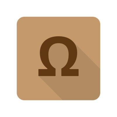 Плакат Плоский стиль значок Omega веб-приложение на светло-коричневом фоне