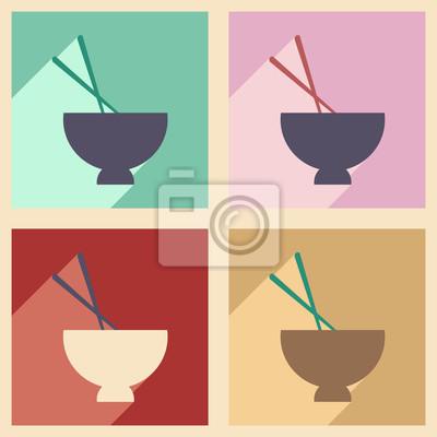 Плакат Квартира с тенью концепции и мобильных приложений суп мисо