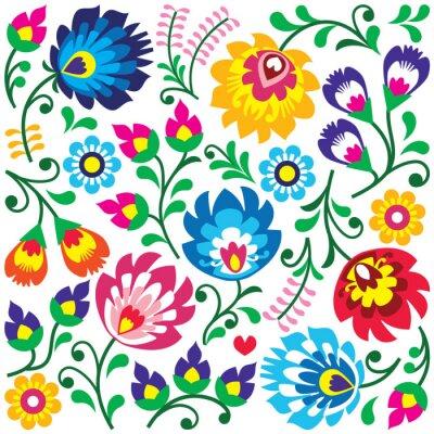 Плакат Цветочный узор Польский народное искусство в квадрате - Wycinanki
