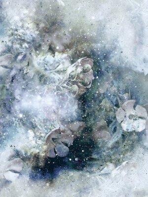 Плакат Flovers и зимой фон, Старый стиль искусства, компьютерный коллаж.