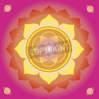 Плакат цветочные элементы и мандалы с эзотерическом смысле для практики йоги и дизайн для здоровья и благополучия