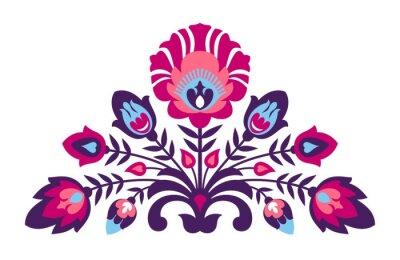 Плакат цветы народном стиле Papercut