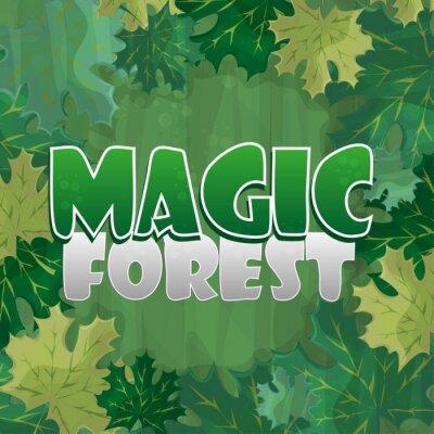Плакат Рамка для оформления текста. Зачарованный лес с зеленым кленовым листом - мультфильм