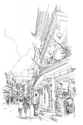 Плакат руки эскиз китайские здания и улицы города