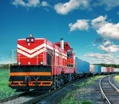 Плакат товарный поезд
