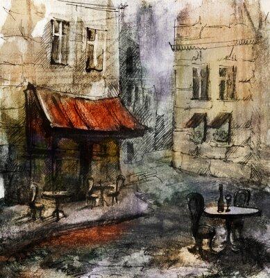 Плакат Французский открытый европейский кафе живопись, графический рисунок в цвете