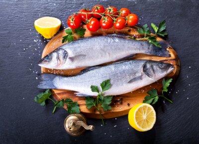 Плакат свежая рыба морской окунь