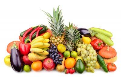 Плакат свежие фрукты и овощи, изолированных на белом