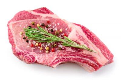 Плакат Свежий сырое мясо на белом фоне. Органическая еда.