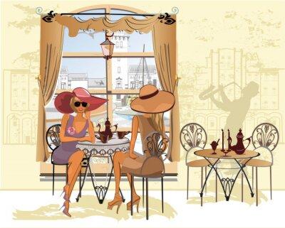 Плакат Друзья в кафе пить кофе.