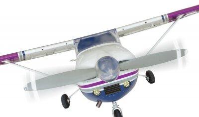 Плакат Фронт Cessna 172 Самолет единым пропеллером на белом фоне