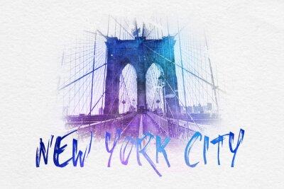 Плакат Вид спереди с Бруклинского моста Нью-Йорка текста