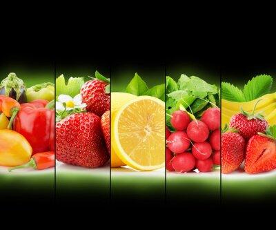 Плакат фруктов и овощей полоса коллекции на черном фоне