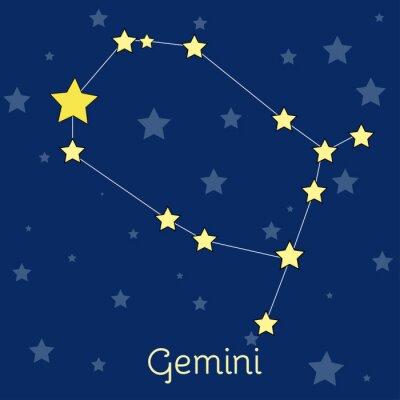 Плакат Близнецы воздуха зодиака созвездие со звездами в космосе. Векторное изображение