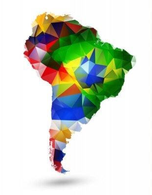 Плакат Геометрический дизайн карта Южной Америки