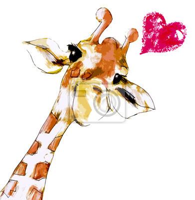 Плакат Жираф с сердцем