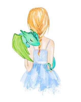 Плакат Girl holding little dragon. Hand drawn watercolor illustration