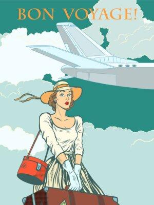 Плакат девушка пассажирский самолет Счастливого пути