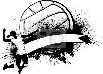 Плакат Девушка Волейбол Гранж баннер