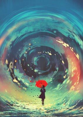 Плакат девушка с красным зонтиком делает кружащуюся в небе воду, стиль цифрового искусства, иллюстрация, живопись