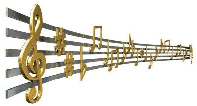 Плакат Золото ноты на волнистые линии
