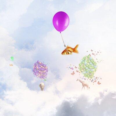 Плакат Золотая рыбка летать на воздушном шаре
