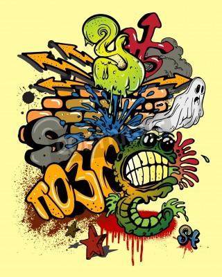 Плакат Граффити элементы.