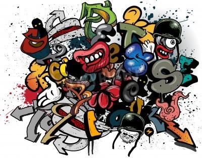 Плакат Граффити элементы взрыв