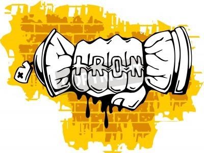Плакат Граффити - Кулак конец Спрей ballon.Vector иллюстрации. Кривых.