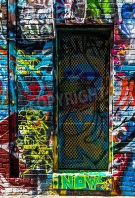 Плакат Граффити на стенах и двери в граффити Аллее, Балтимор, штат Мэриленд.