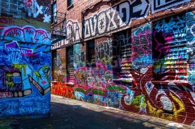Плакат Граффити на стенах граффити в переулке, Балтимор, штат Мэриленд.