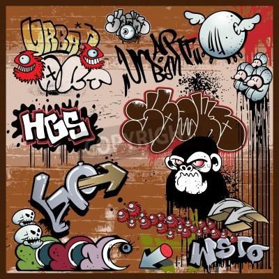 Плакат граффити элементы городских художественных