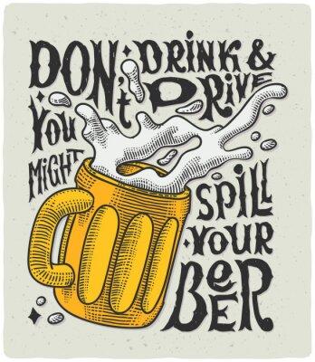 Плакат Графический плакат с кружкой гравировкой и смешной текст