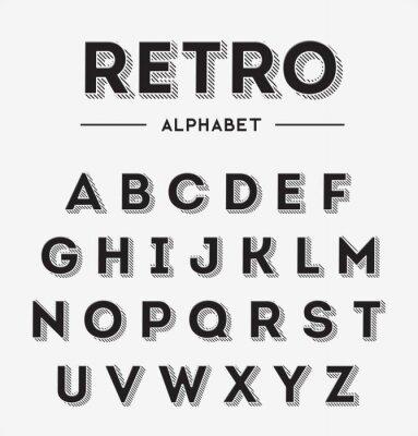 Плакат Графические Ретро Письма установить