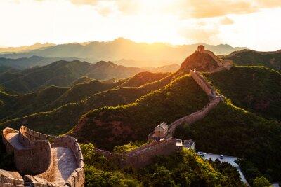 Плакат Великая стена под солнцем во время заката