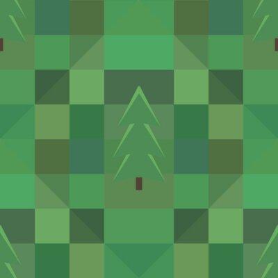 Плакат зеленый узор квадратный фон много деревьев