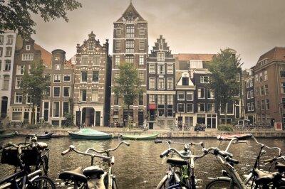 Плакат серый день в Амстердаме города
