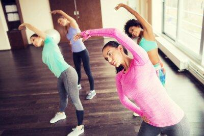 Плакат Группа счастливых женщин, работающих в тренажерном зале