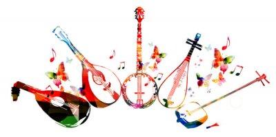 Плакат Группа музыкальных инструментов с бабочками