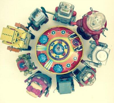 Плакат группа роботов игрушек