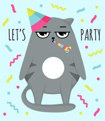Плакат Grumpy cat invitation card. Let party. Cat in cap. Party atribution. congratulatory postcards