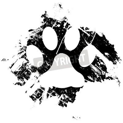 Плакат Гранж животное или кошка лапой печать. Может быть использован в качестве фона или в виде незначительного элемента конструкции.
