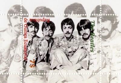 Плакат Гвинея - около 1996: The Beatles - 1960-е годы знаменитый музыкальный поп-группа
