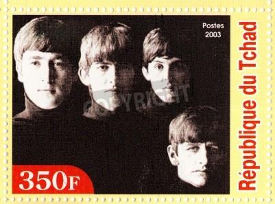 Плакат Гвинея - около 2003: The Beatles - 1980-е годы знаменитый музыкальный поп-группа.