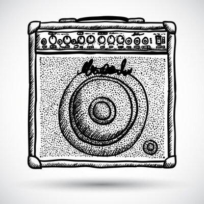Плакат Гитарный комбо усилитель векторные иллюстрации