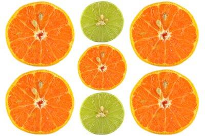 Плакат Половинки апельсина и лайма на белом фоне