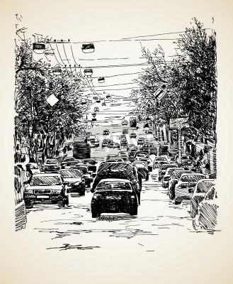 Плакат Рука ничья линии искусства состав городской транспорт
